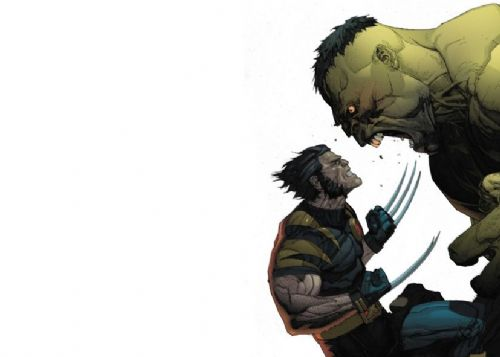 THE HULK - Vs WOLVERINE - WHITE LANDSCAPE canvas print - self adhesive poster - photo print
